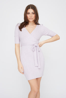 Ribbed V-Neck Self Tie Mini Dress
