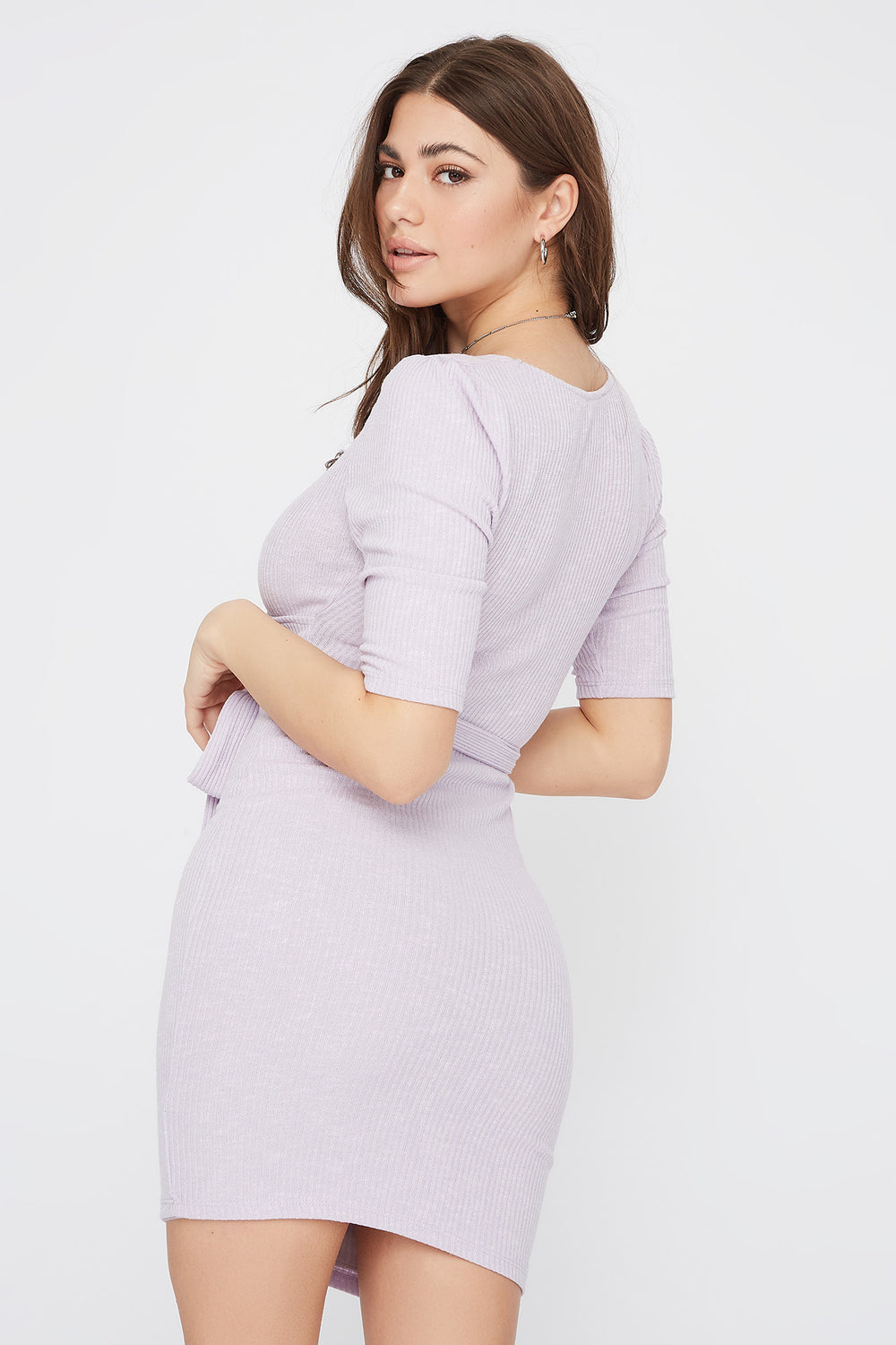 Ribbed V-Neck Self Tie Mini Dress Purple