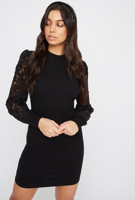 Lace Long Sleeve Crew Neck Mini Dress