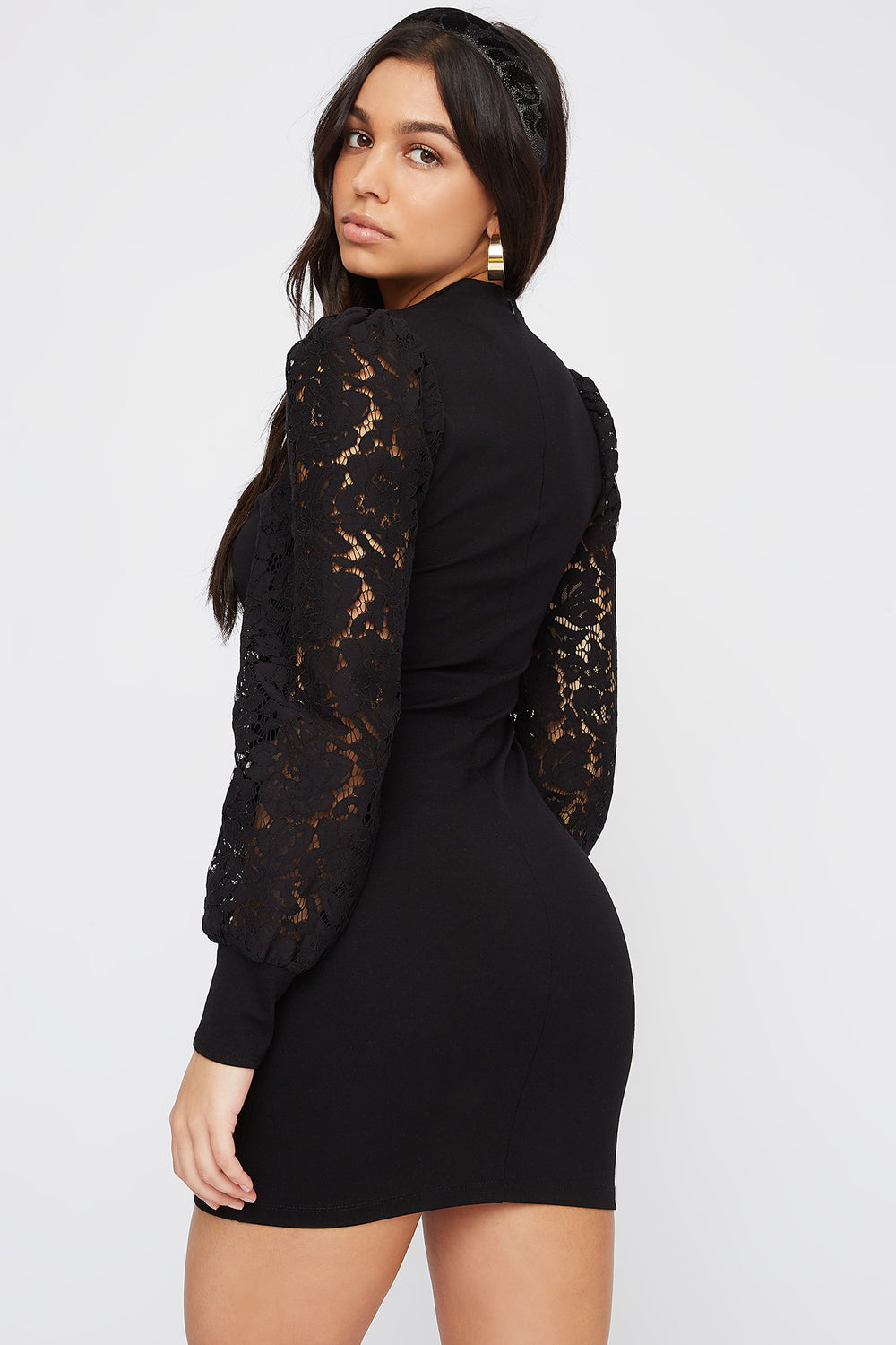 Lace Long Sleeve Crew Neck Mini Dress Black