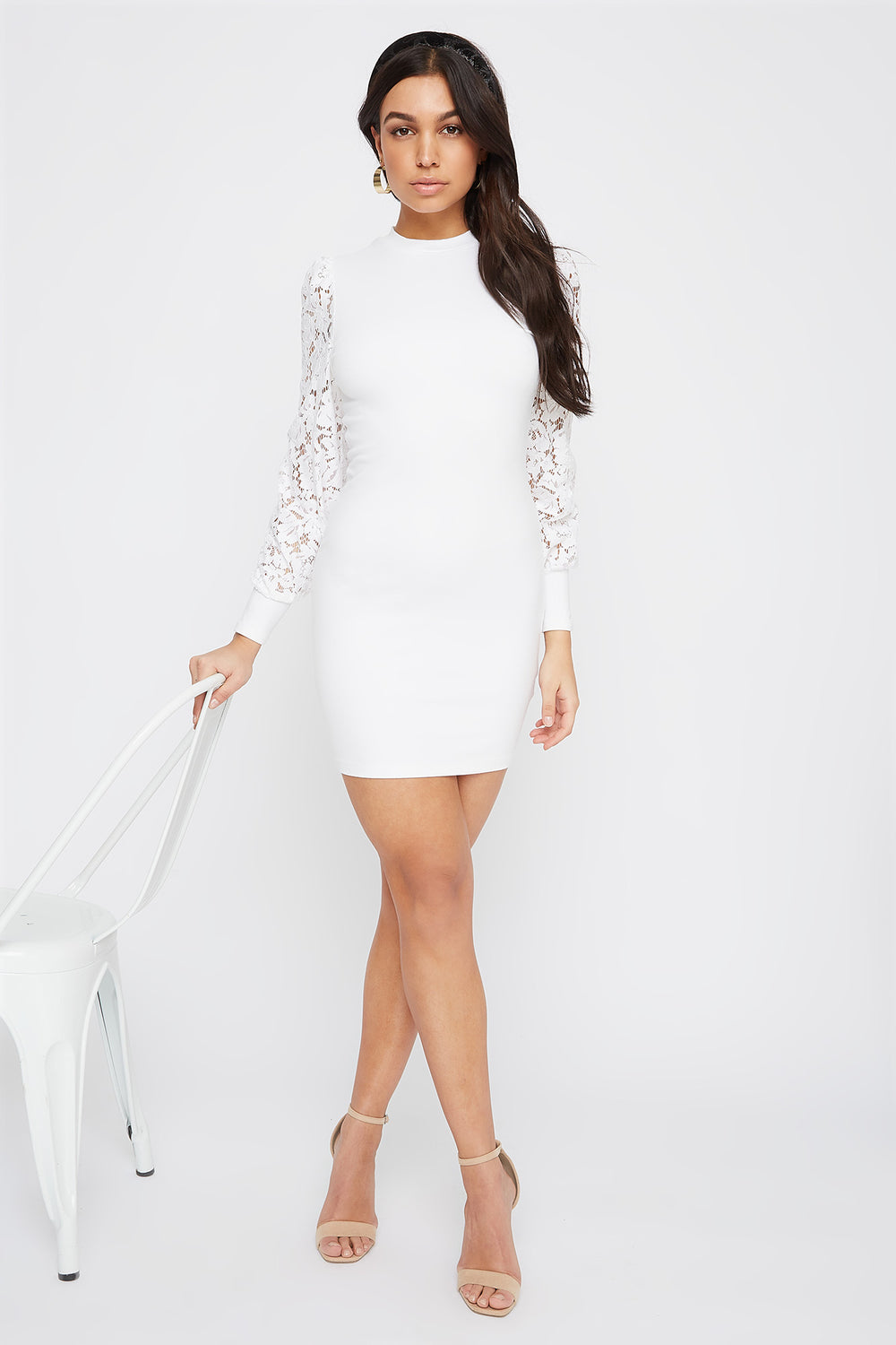 Lace Long Sleeve Crew Neck Mini Dress Ivory