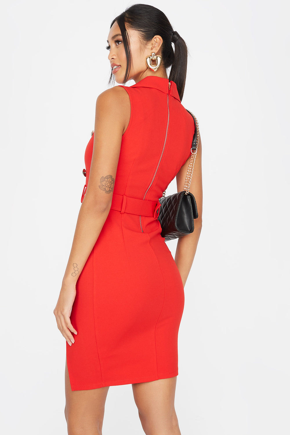 V-Neck Double Breasted Belted Sleeveless Dress Red
