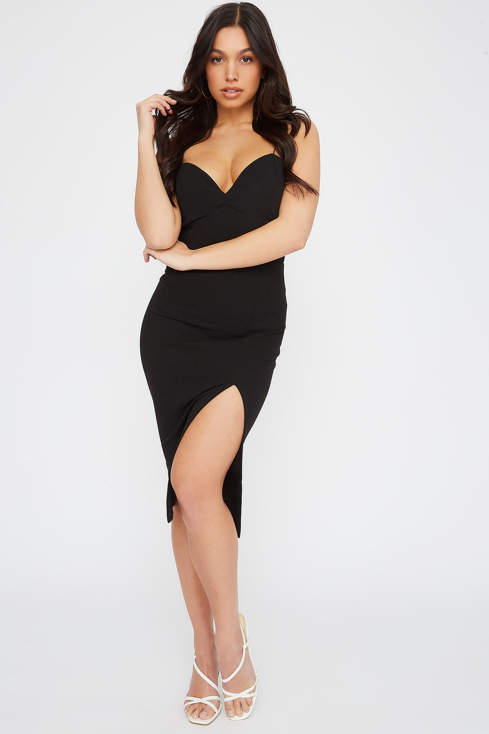 Sweetheart Neck Slit Midi Dress Black