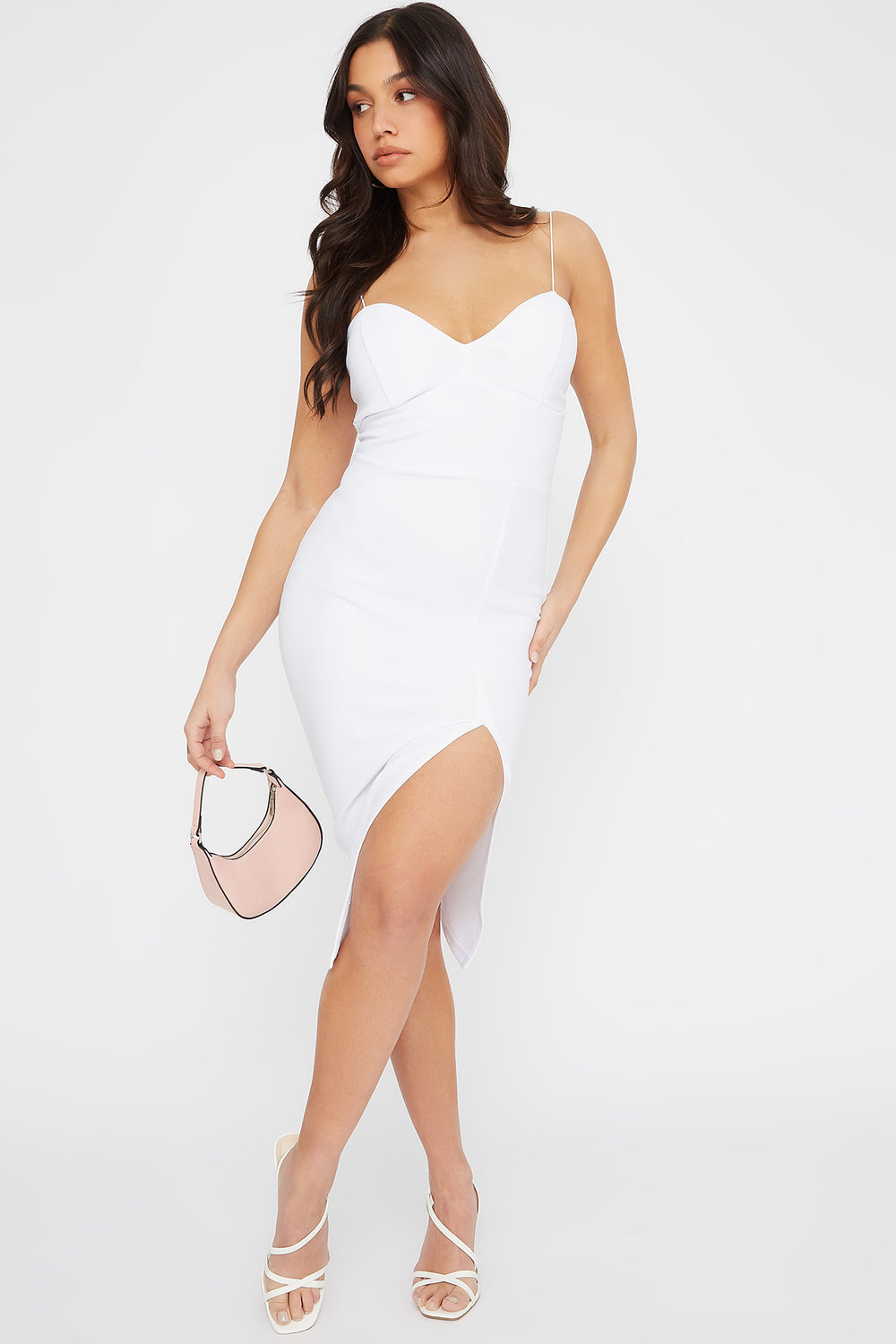 Sweetheart Neck Slit Midi Dress Ivory
