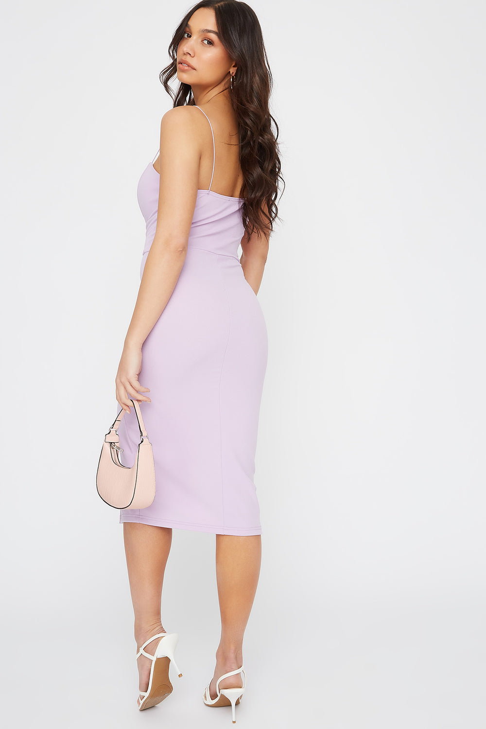 Sweetheart Neck Slit Midi Dress Purple