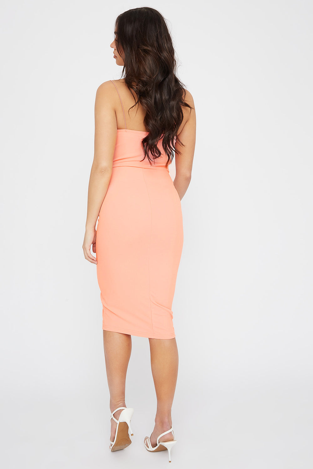 Sweetheart Neck Slit Midi Dress Coral