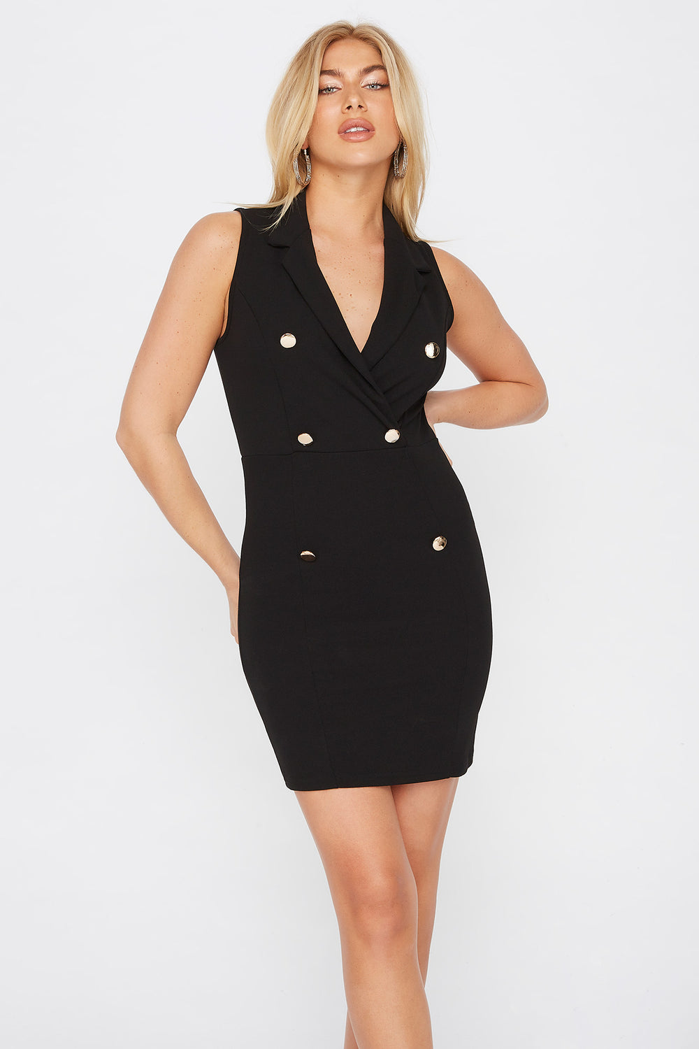 Sleeveless Blazer Mini Dress Black