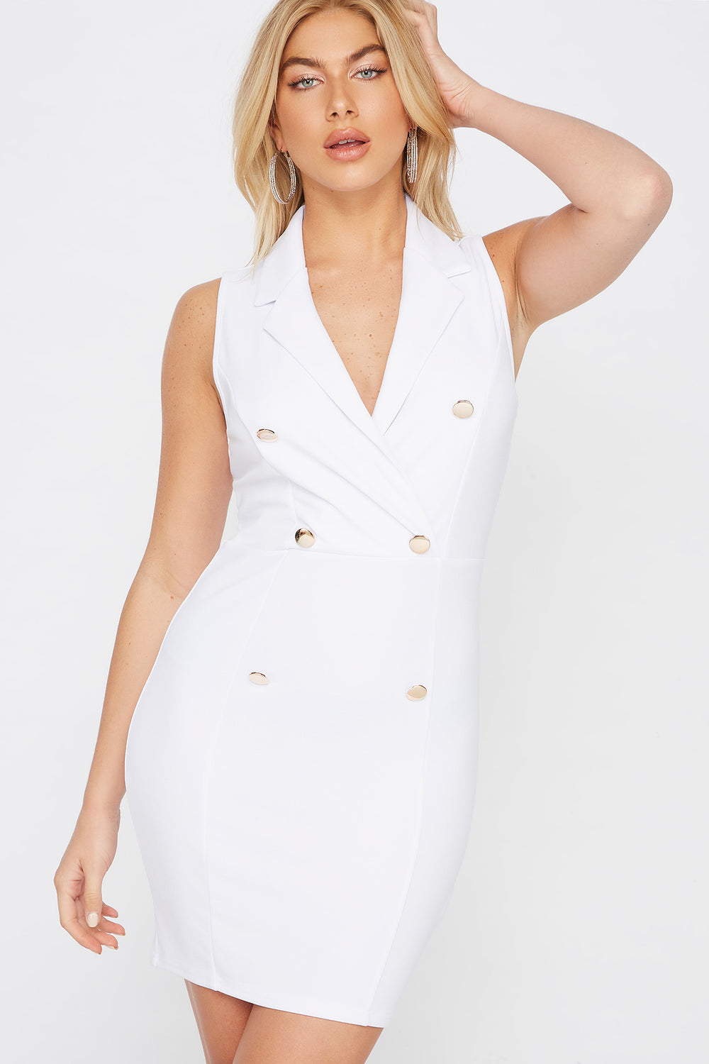 Sleeveless Blazer Mini Dress Ivory