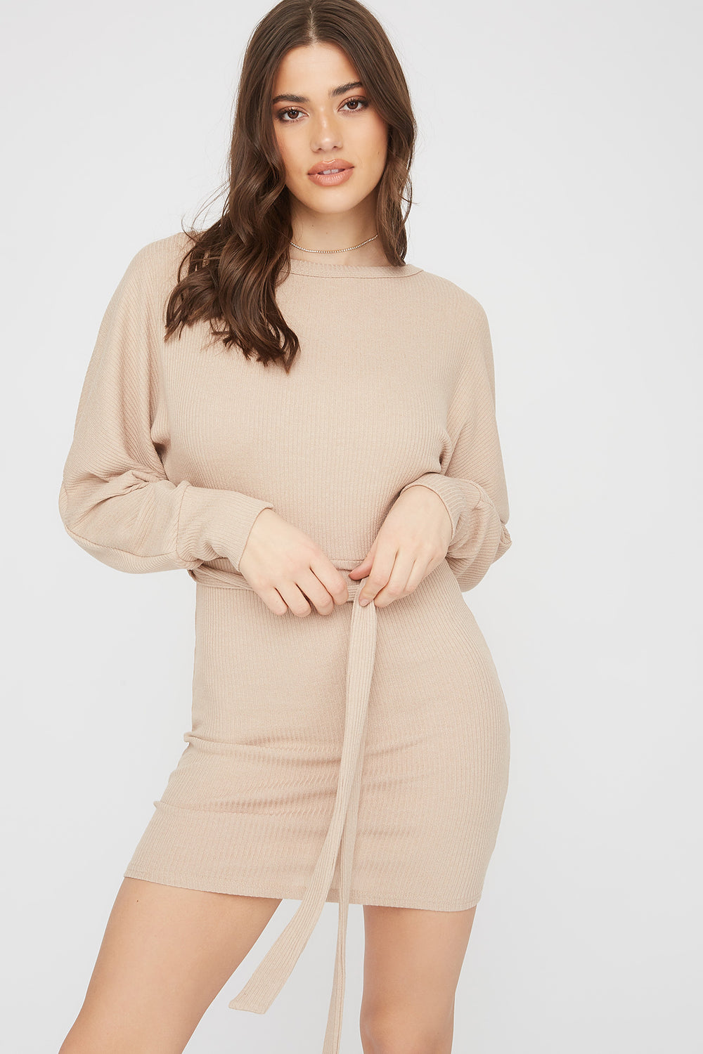 Ribbed Multi Way Self-Tie Mini Dress Oatmeal