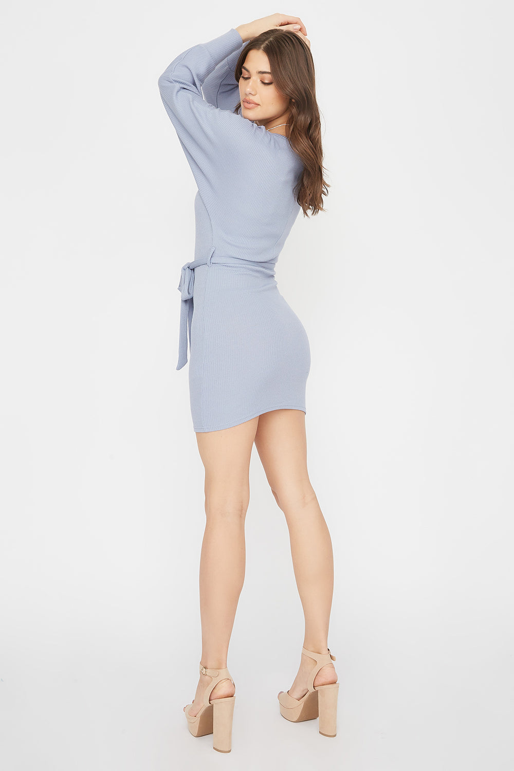 Ribbed Multi Way Self-Tie Mini Dress Blue