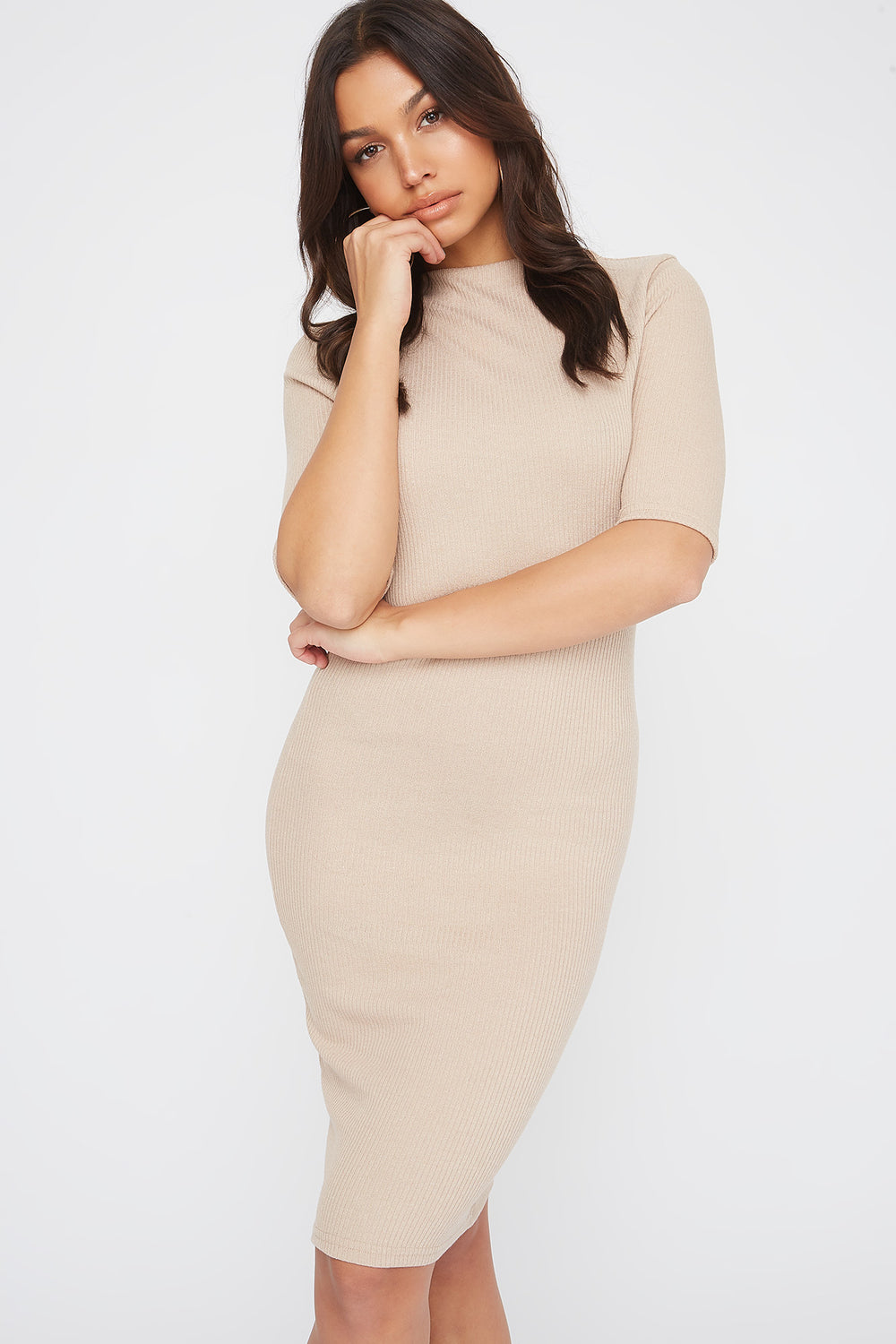 Ribbed Elbow Sleeve Midi Dress Oatmeal