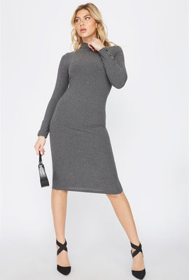 Ribbed Long Sleeve Midi Dress