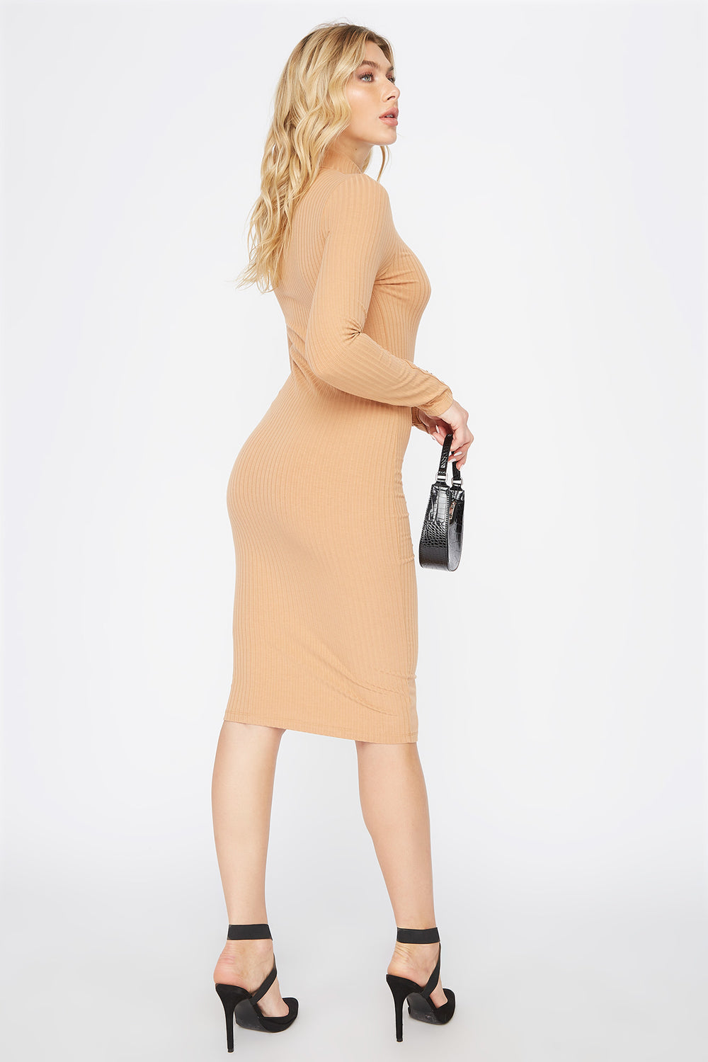 Ribbed Long Sleeve Midi Dress Taupe