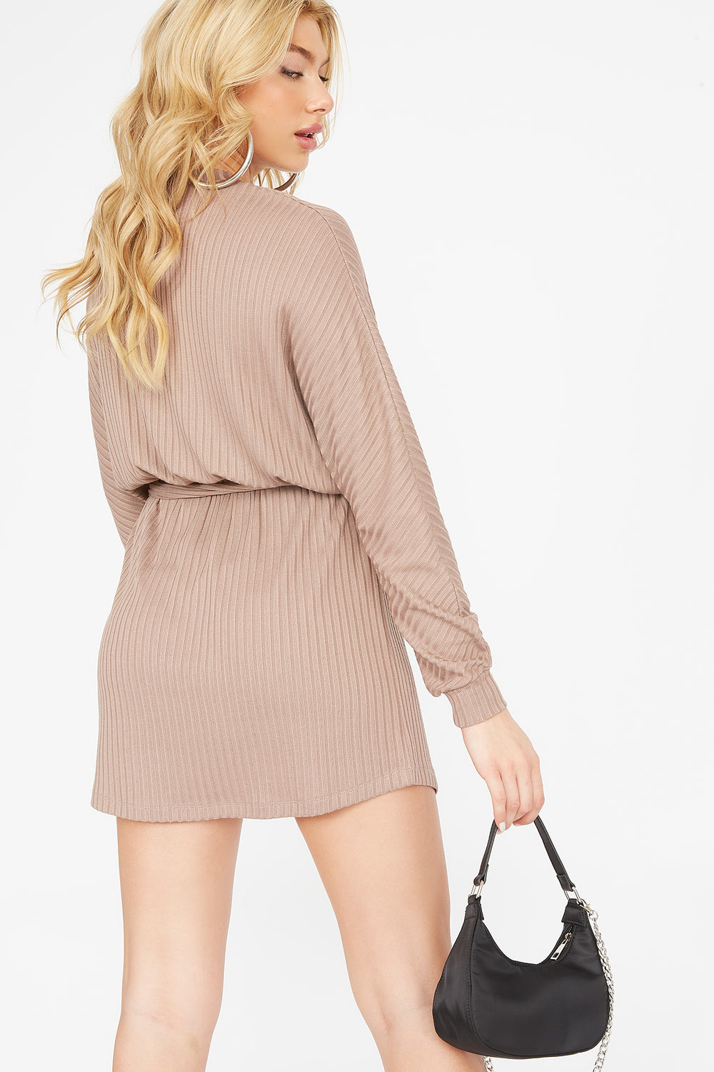 Ribbed Crew Neck Self Tie Belt Mini Dress Tan