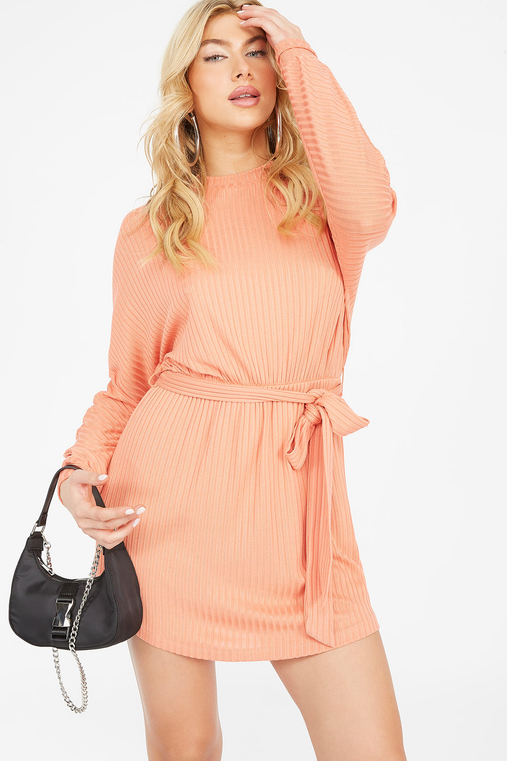 Ribbed Crew Neck Self Tie Belt Mini Dress Dusty Rose