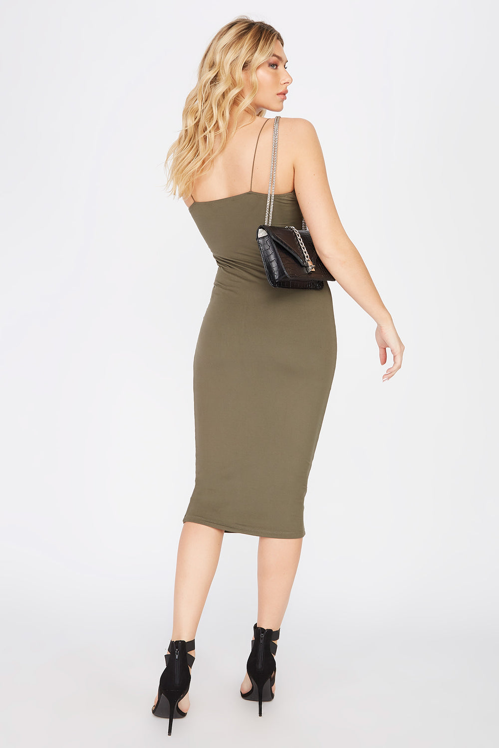 Sleeveless Bodycon Midi Dress Dark Green