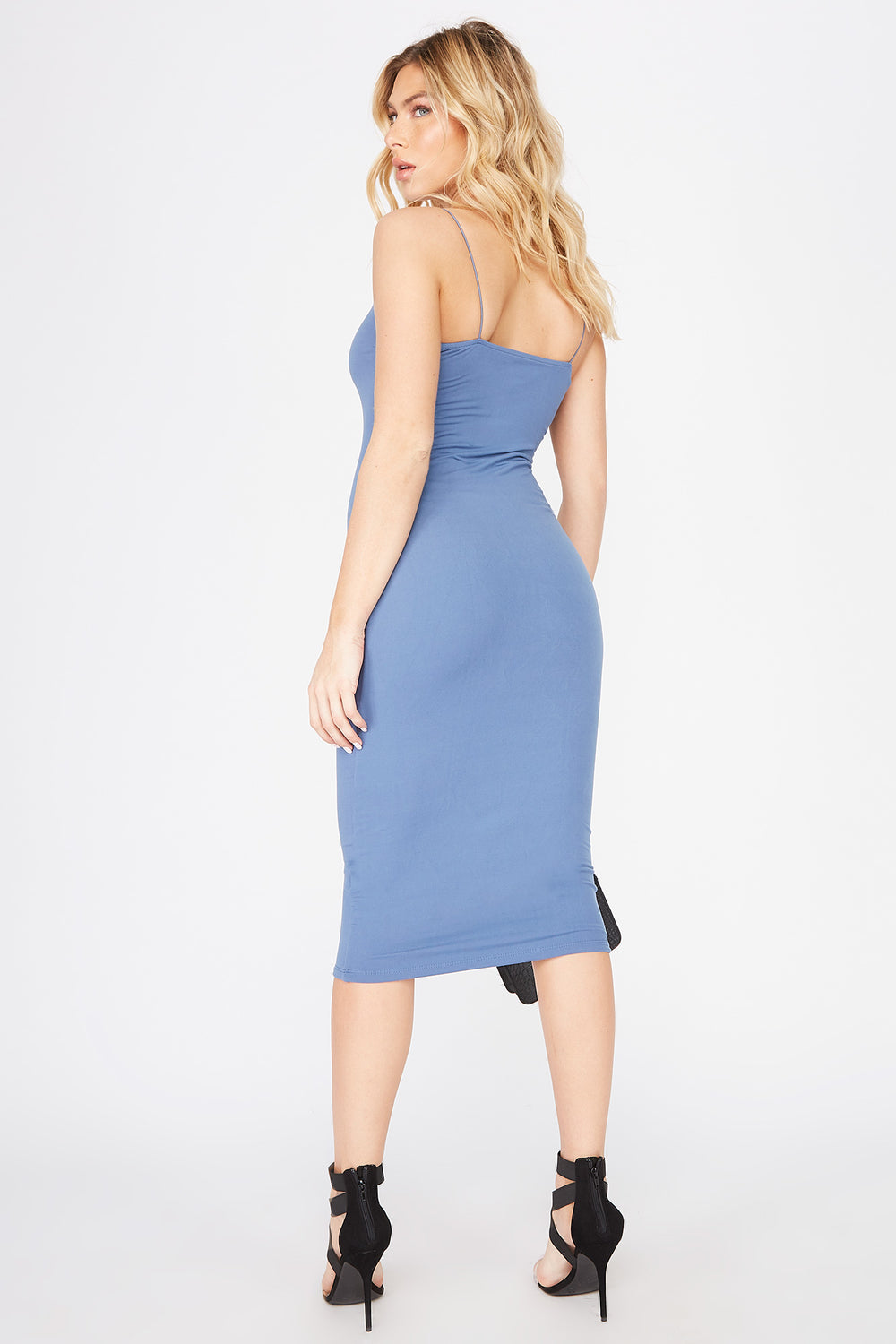 Sleeveless Bodycon Midi Dress Grey Blue
