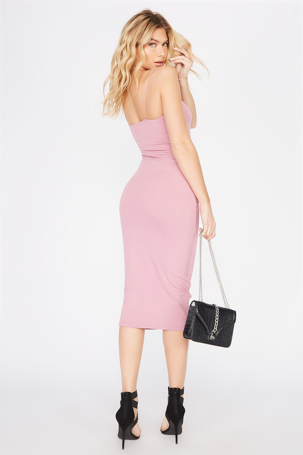 Sleeveless Bodycon Midi Dress Dark Pink