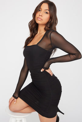 Mesh Ruched Mini Dress