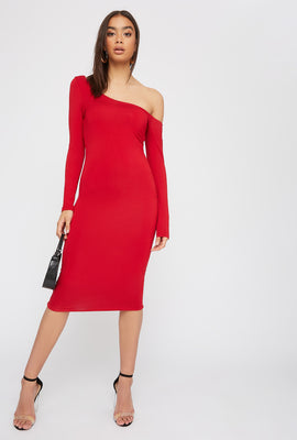 One Shoulder Long Sleeve Bodycon Midi Dress