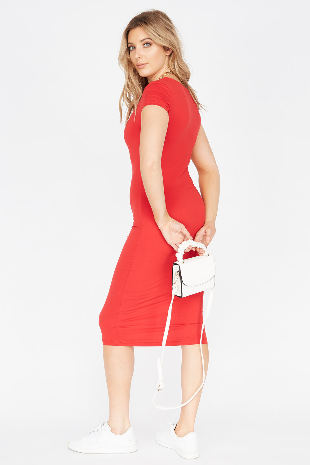 Soft Short Sleeve Midi Bodycon Dress Red
