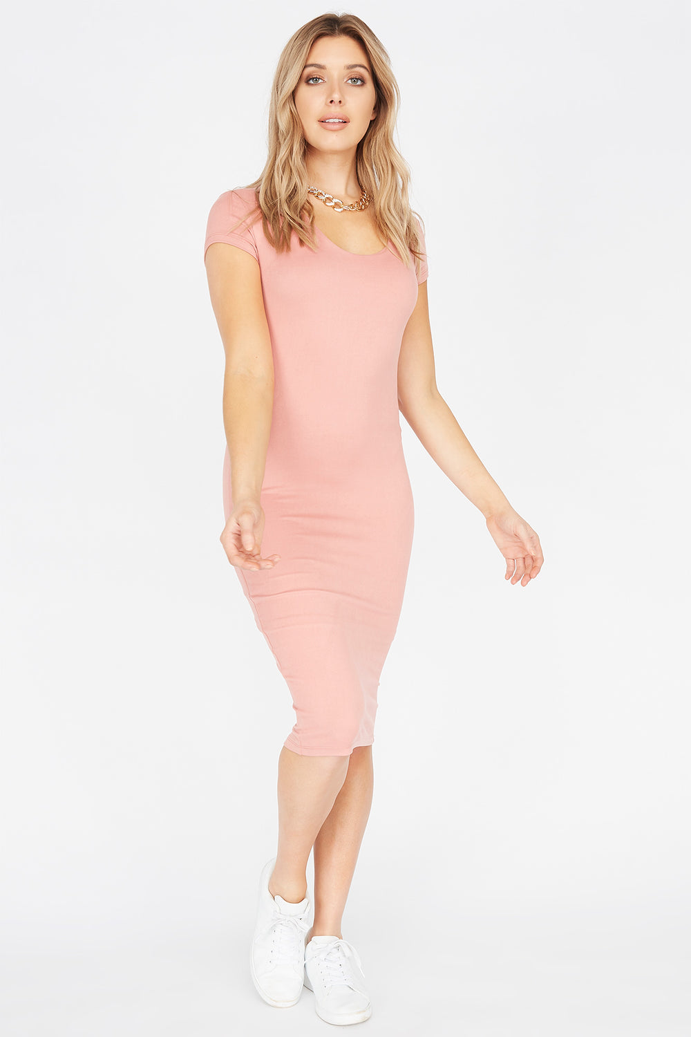 Soft Short Sleeve Midi Bodycon Dress Dusty Rose