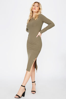 Slit Long Sleeve Midi Dress