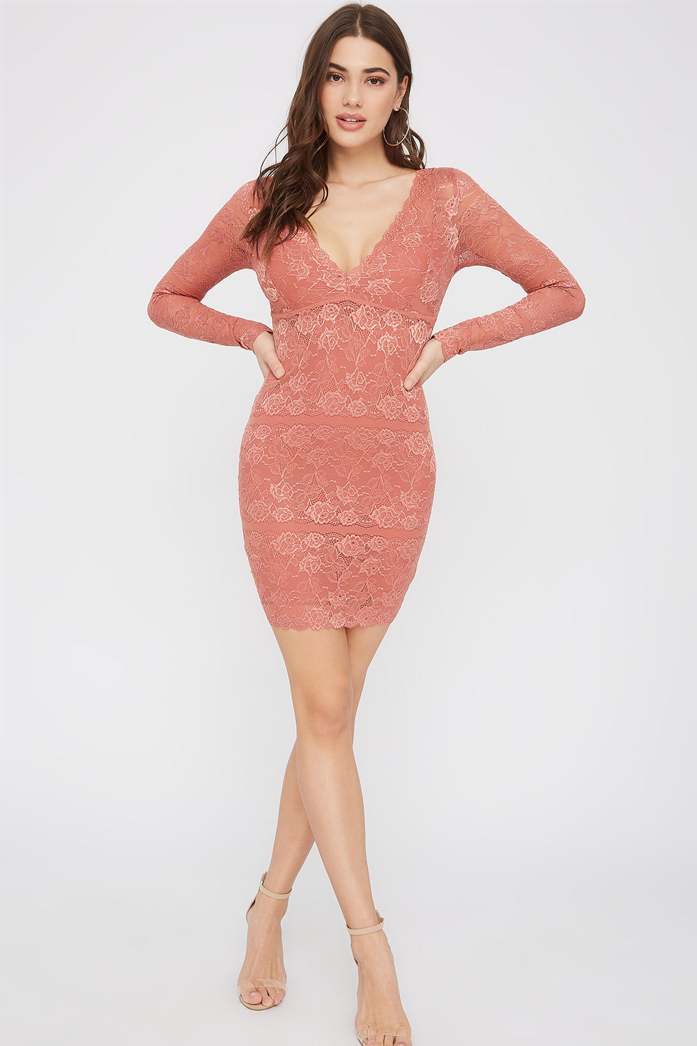 Lace Long Sleeve V-Neck Mini Dress Dark Pink