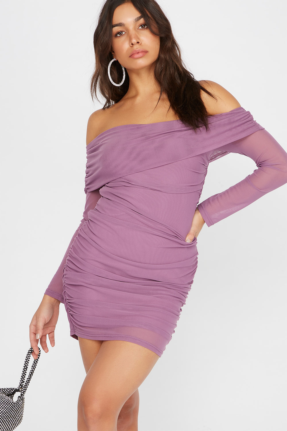Mesh Off The Shoulder Ruched Mini Dress Lilac