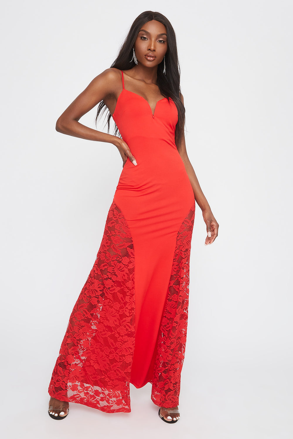 Robe maxi avec insertion de dentelle à encolure en V Rouge