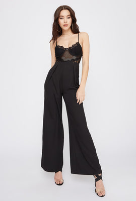 Lace Contrast Wide Leg Jumpsuit