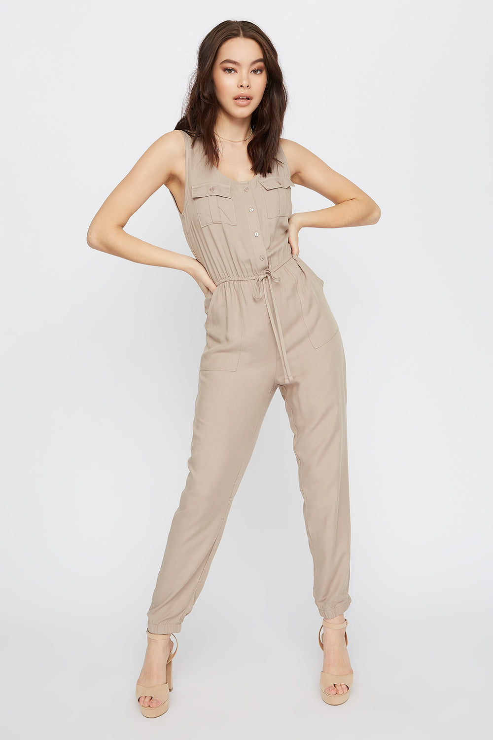 Sleeveless V-Neck Jumpsuit Dark Grey