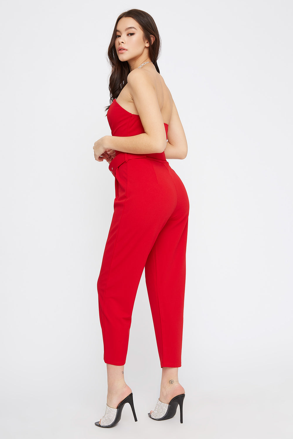 Strapless Sweetheart Neckline Belted Jumpsuit Red