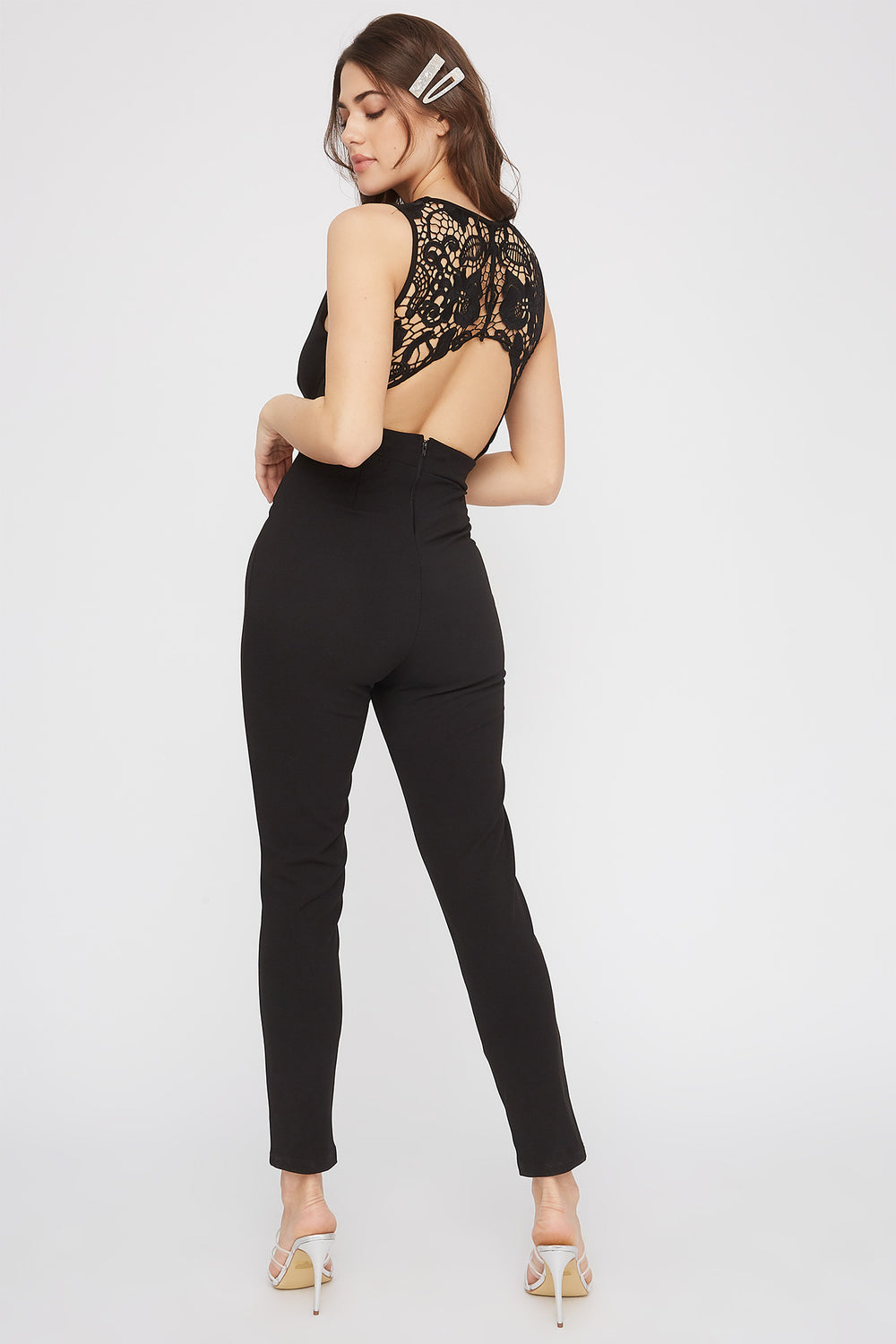 Keyhole Lace Back Jumpsuit Black