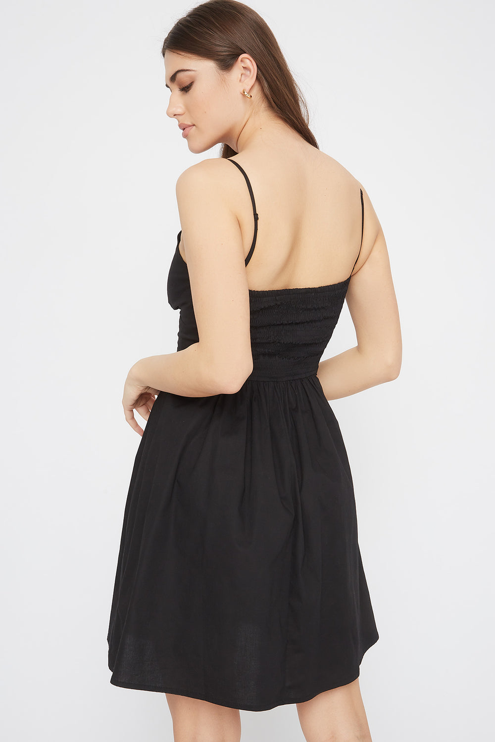 Button Cut-Out Knot Sun Dress Black