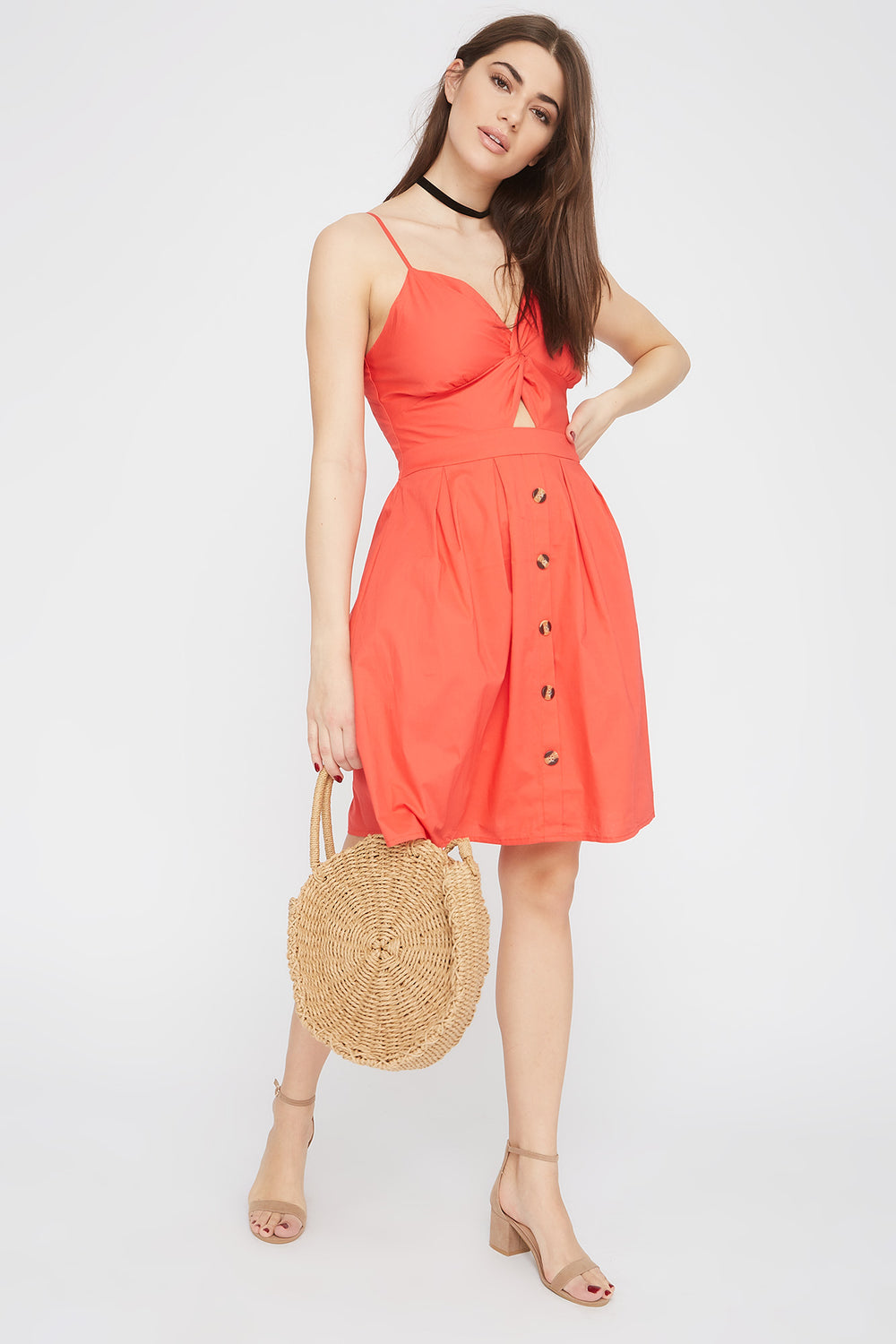 Button Cut-Out Knot Sun Dress Coral