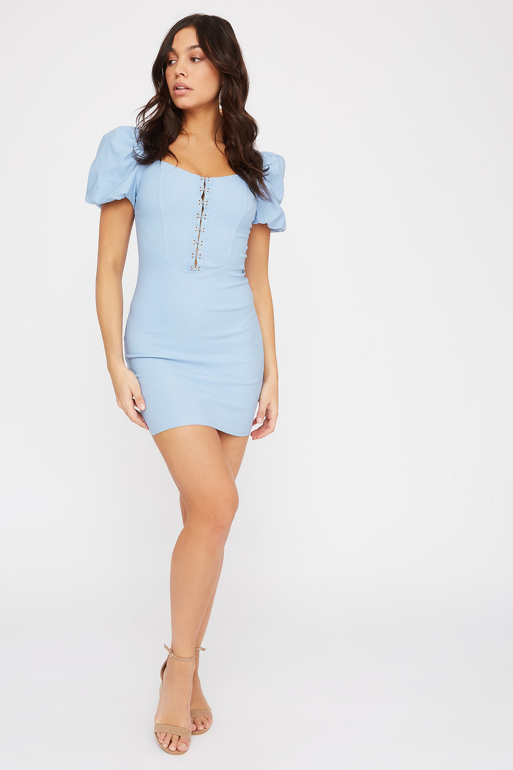 Puff Sleeve Hook And Eye Mini Dress Light Blue