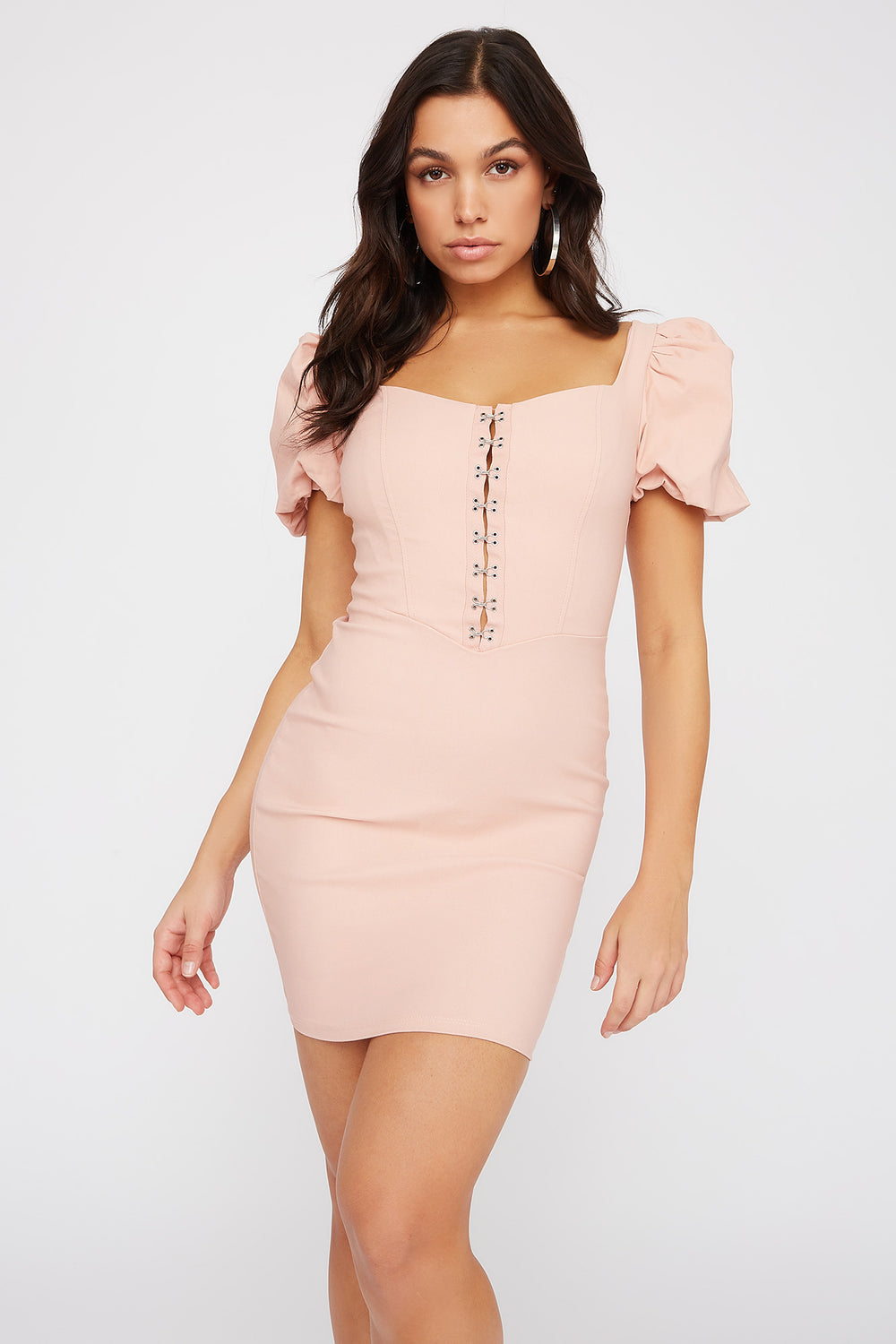 Puff Sleeve Hook And Eye Mini Dress Dusty Rose