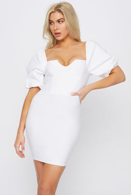 V-Neck Puff Sleeve Mini Dress