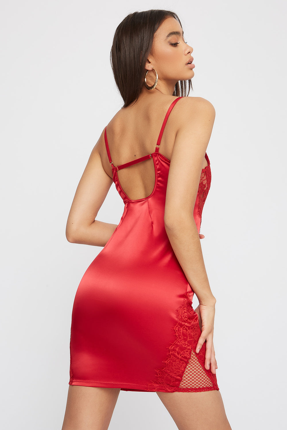 Lace Satin Bustier Mini Dress Red