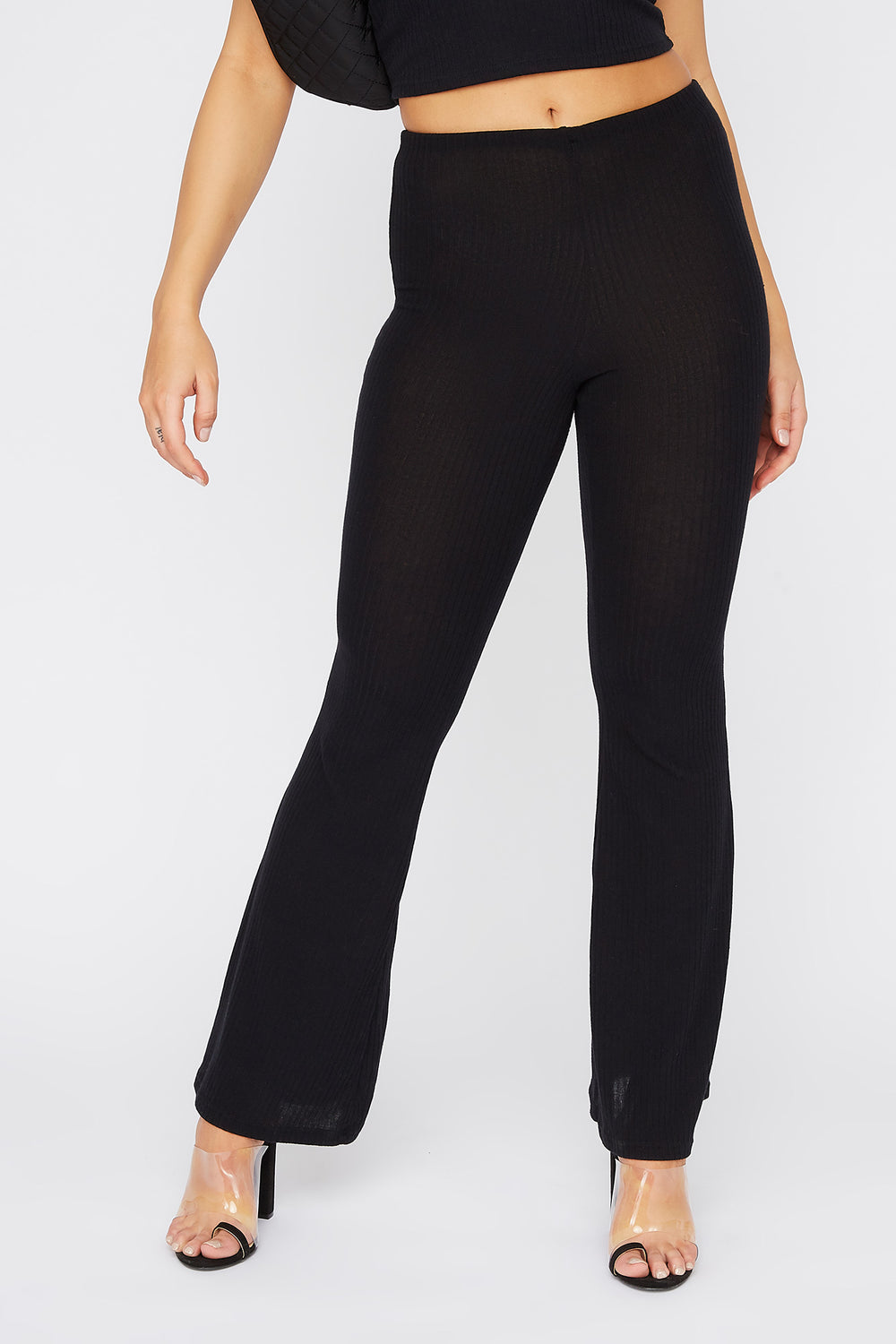 Ribbed Pull-On Flare Pant Black