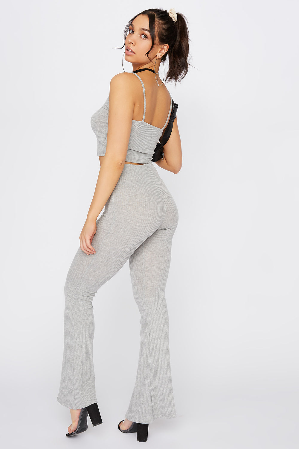 Ribbed Pull-On Flare Pant Heather Grey