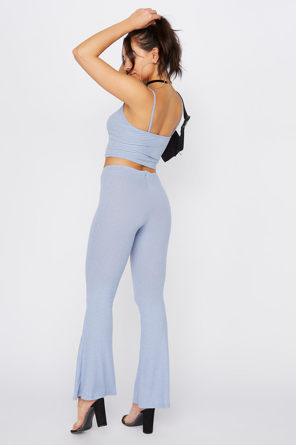 Ribbed Pull-On Flare Pant Light Blue