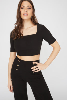 Crepe Square Neck Cropped Top
