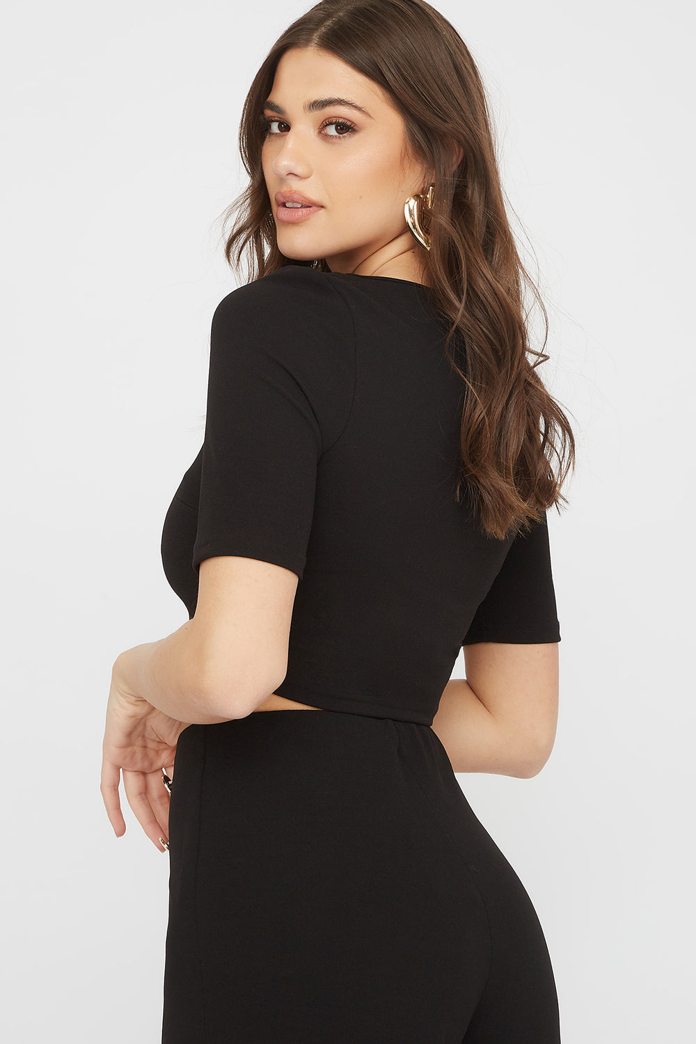 Crepe Square Neck Cropped Top Black