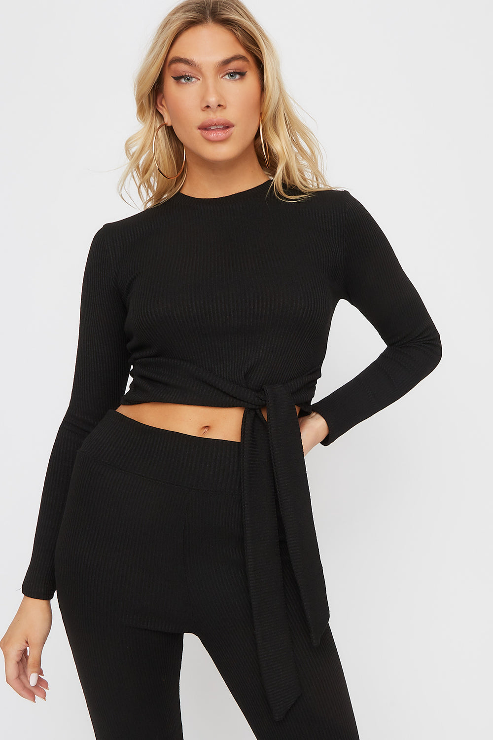 Ribbed Tie Cropped Long Sleeve Black