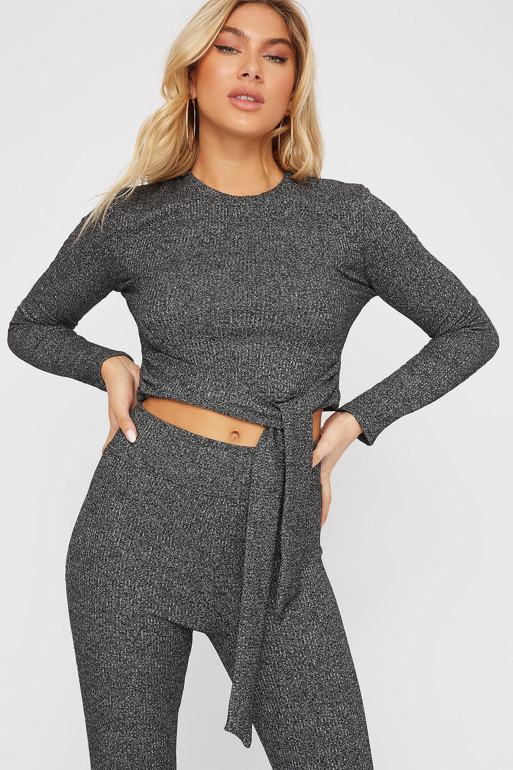 Ribbed Tie Cropped Long Sleeve Black with White