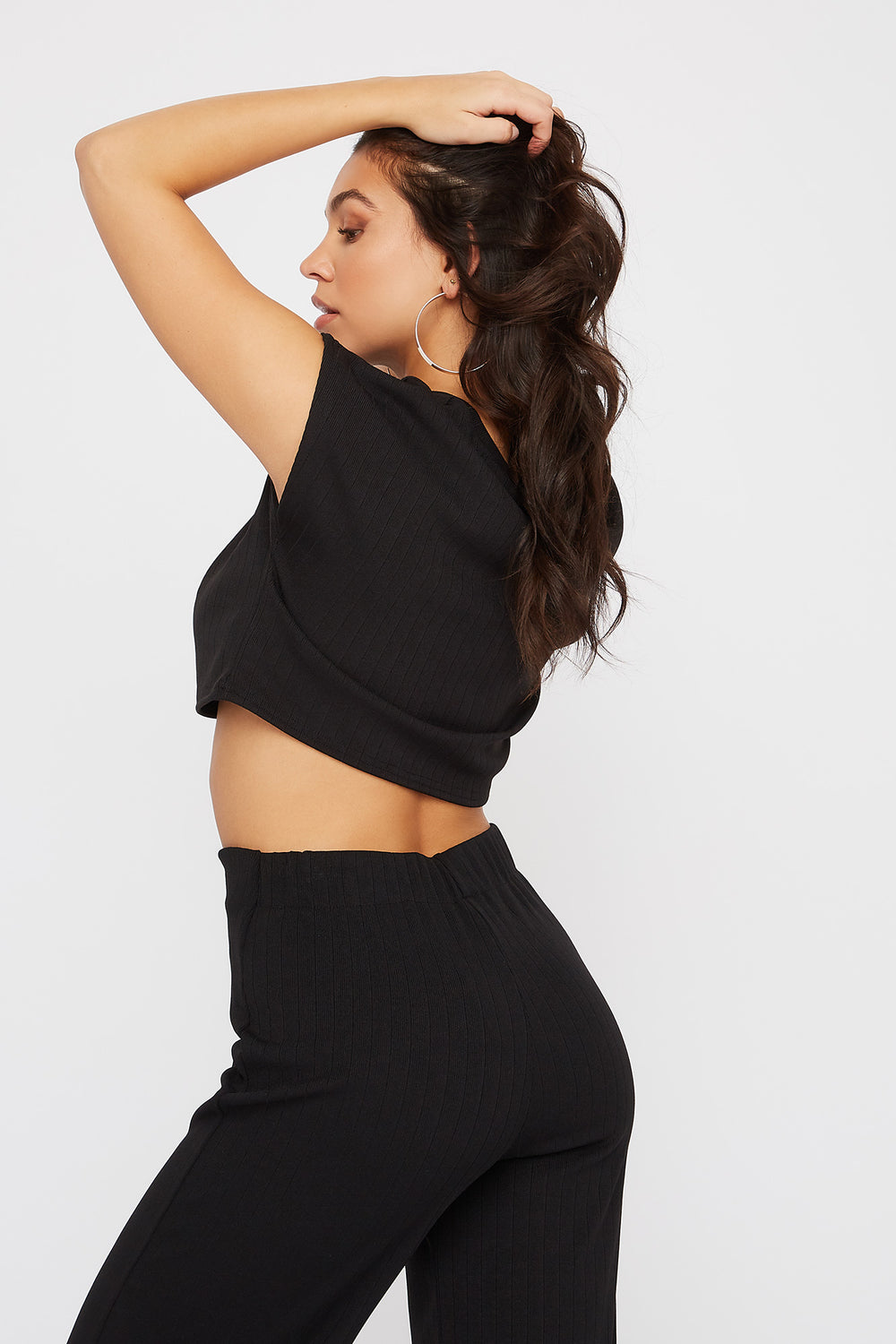 Ribbed Cropped Cap Sleeve T-Shirt Black