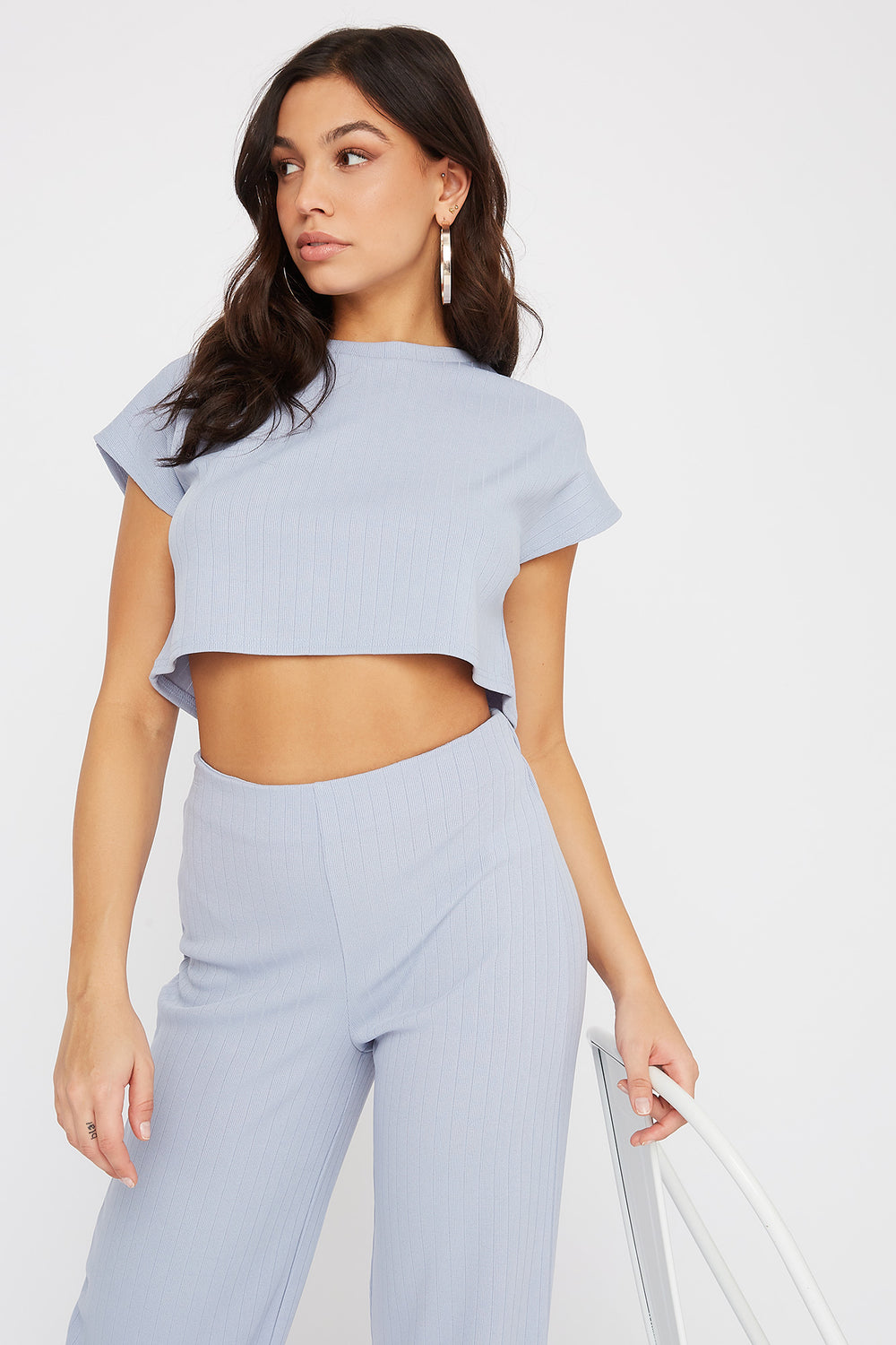 Ribbed Cropped Cap Sleeve T-Shirt Blue