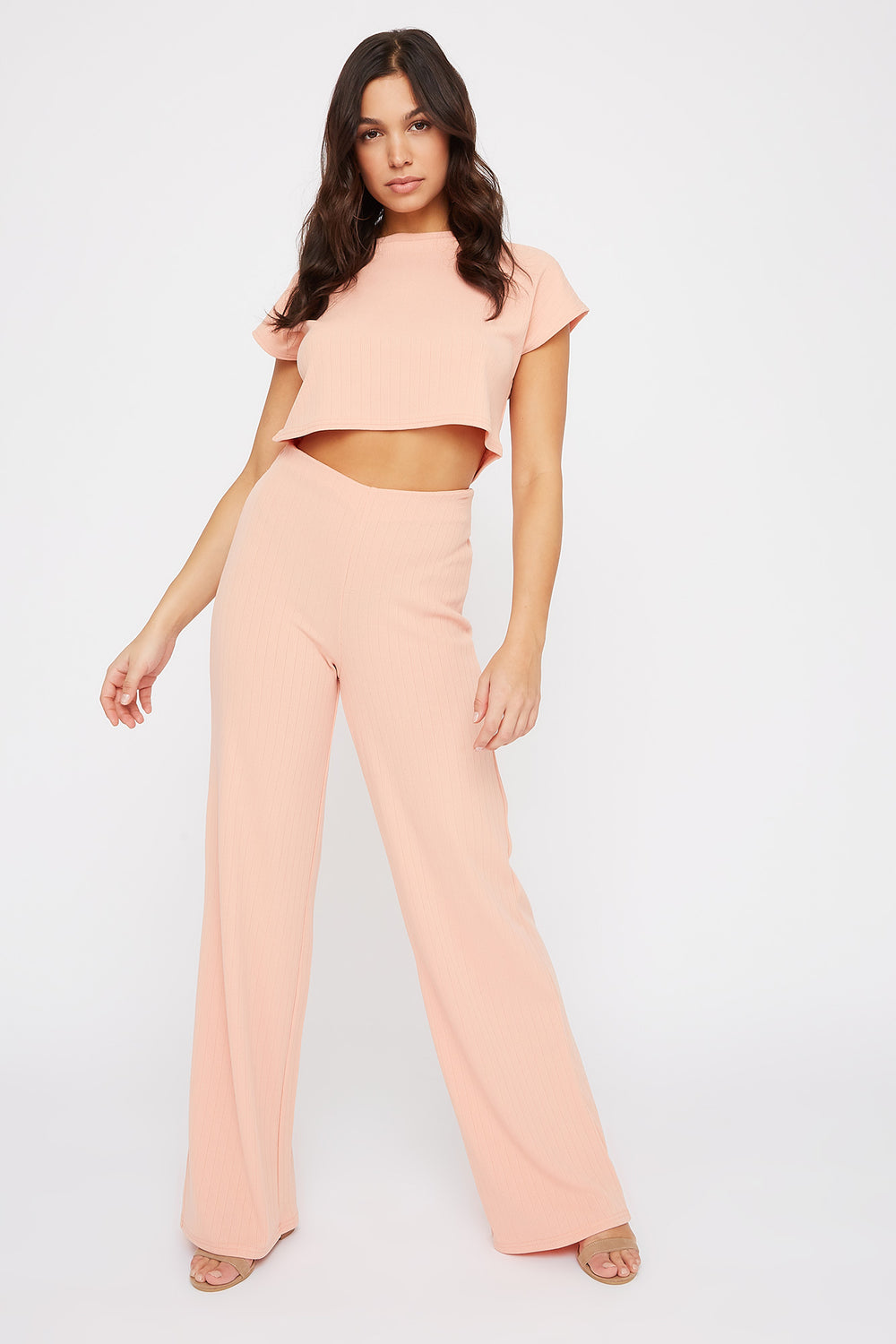 Ribbed Cropped Cap Sleeve T-Shirt Dusty Rose